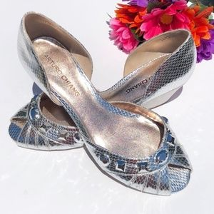 Arturo Chiang Silver Jeweled Wedge Sandals-Sz 7.5M